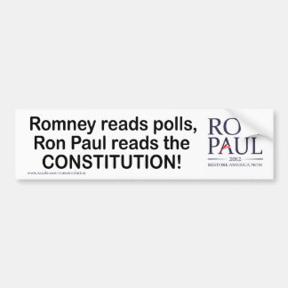 Ron Paul reads the constitution Car Bumper Sticker