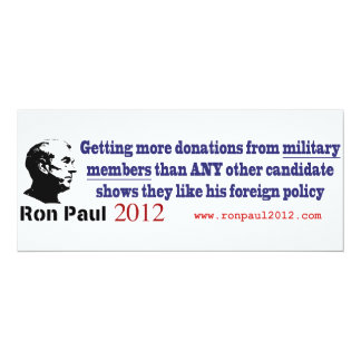 Ron Paul Recieves the Most Military Donations Card