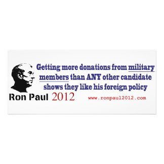 Ron Paul Recieves the Most Military Donations Custom Announcements