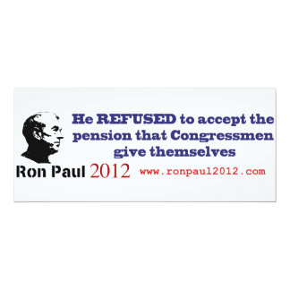Ron Paul Refuses his Government Pension Card