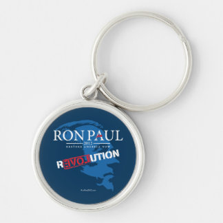 Ron Paul Revolution 2012 Silver-Colored Round Keychain