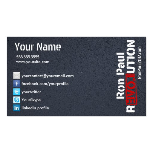 Ron Paul Revolution Card Double-Sided Standard Business Cards (Pack Of 100)