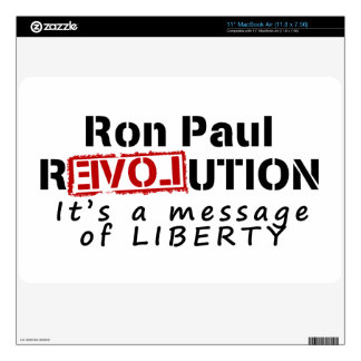 """Ron Paul rEVOLution It's a message of Liberty 11"""" MacBook Air Decal"""