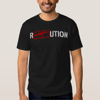 Ron Paul Revolution logo with an AK47 in white T Shirt