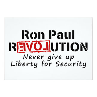 Ron Paul rEVOLution Never give up Liberty Card