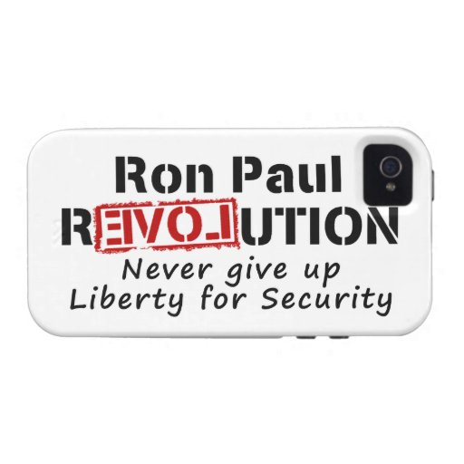 Ron Paul rEVOLution Never give up Liberty iPhone 4/4S Case