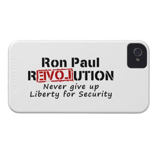 Ron Paul rEVOLution Never give up Liberty iPhone 4 Case-Mate Case