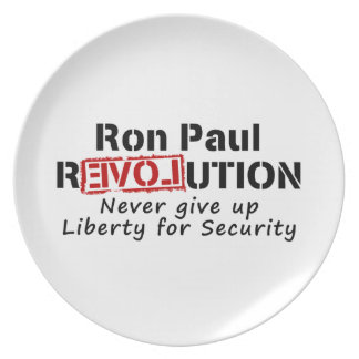 Ron Paul rEVOLution Never give up Liberty Melamine Plate