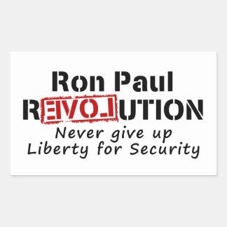 Ron Paul rEVOLution Never give up Liberty Rectangular Sticker