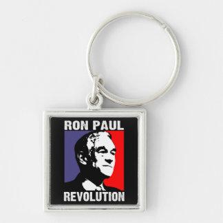 Ron Paul Revolution Silver-Colored Square Keychain