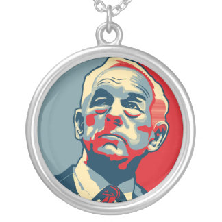 Ron Paul Revolution Silver Plated Necklace