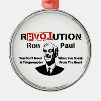 Ron Paul rEVOLution Speak From The Heart Round Metal Christmas Ornament
