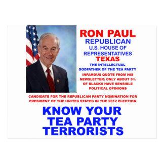Ron Paul Tea Party Terrorist Republican Texas Postcard