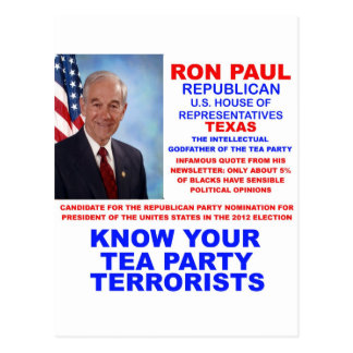 Ron Paul Tea Party Terrorist Republican Texas Postcard