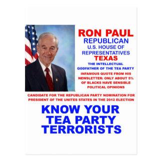 Ron Paul Tea Party Terrorist Republican Texas Post Card