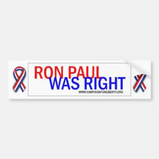 ¡Ron Paul tenía razón! Etiqueta engomada de parach Pegatina Para Auto