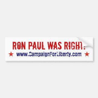 ¡Ron Paul tenía razón! pegatina para el parachoque Pegatina Para Auto
