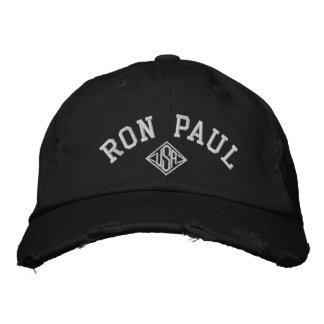 RON PAUL U.S.A. Men's Distressed Chino Twill Cap Embroidered Baseball Cap