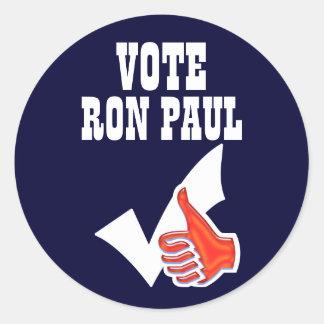 Ron Paul vote Classic Round Sticker
