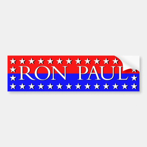 Ron Paul White Stars on Red and Blue Bumper Sticker
