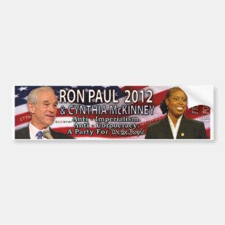 Ron Paul y Cynthia McKinney para la Casa Blanca 20 Pegatina De Parachoque
