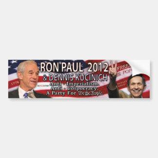 Ron Paul y Dennis Kucinich para la Casa Blanca 201 Pegatina De Parachoque