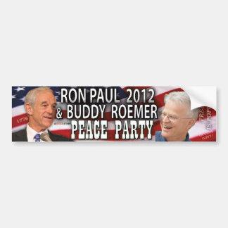 Ron Paul y fiesta 2012 de la paz de Roemer del com Pegatina Para Auto