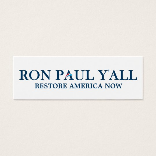 Ron Paul Y'all Bookmark Mini Business Card