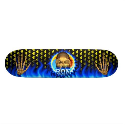 Ron skull blue fire Skatersollie skateboard. Skate Boards
