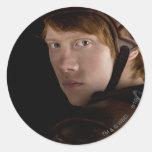 Ron Weasley adaptado para arriba Pegatina Redonda