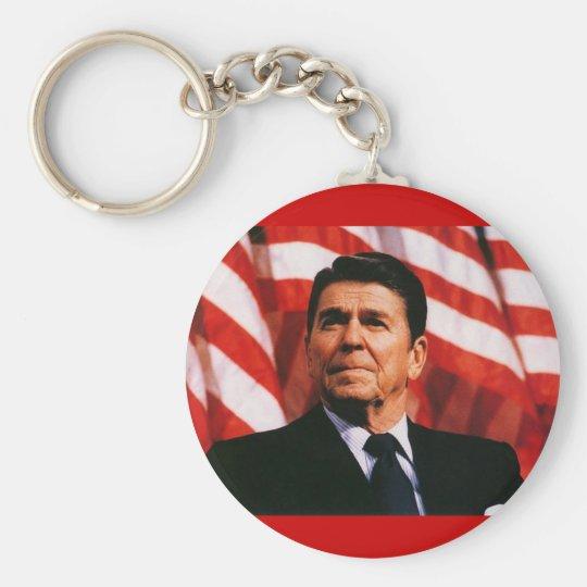 Ronald Reagan American Flag Portrait Keychain