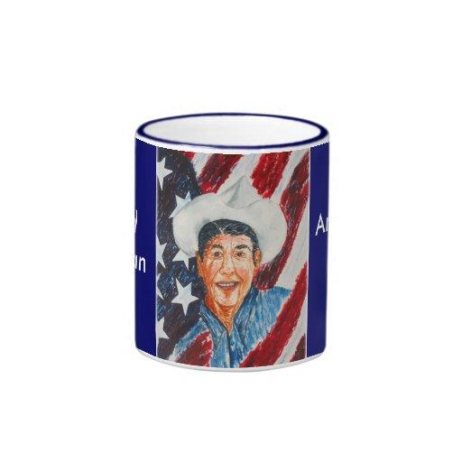 Ronald Reagan American Patriot Ringer Mug Coffee Mugs