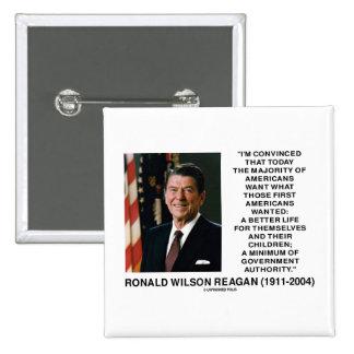 Ronald Reagan Americans Want Minimum Gov t Authrty Pins