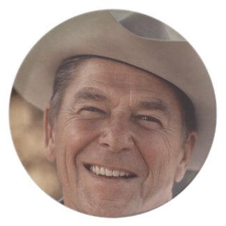 Ronald Reagan Cowboy Retro 80s Plate
