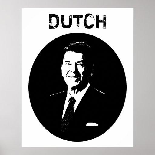 Ronald Reagan -- Dutch -- Black and White Poster