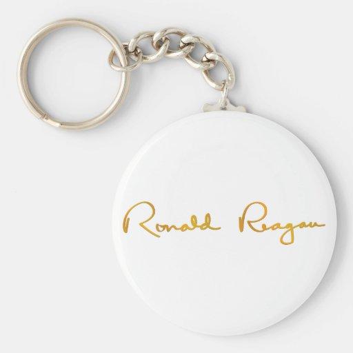 Ronald Reagan Gold Signature Basic Round Button Keychain