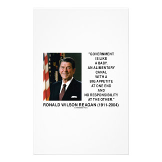 Ronald Reagan Gov't Like A Baby Alimentary Canal Stationery