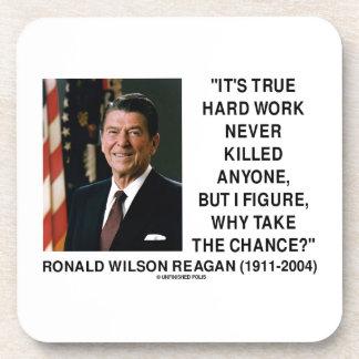 Ronald Reagan Hard Work Why Take The Chance? Coaster