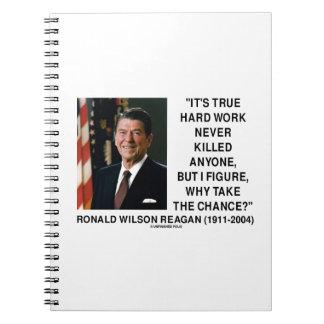 Ronald Reagan Hard Work Why Take The Chance? Spiral Notebooks