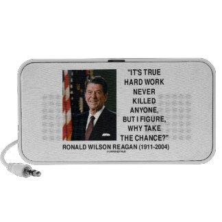 Ronald Reagan Hard Work Why Take The Chance? Mini Speaker