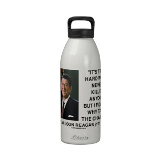 Ronald Reagan Hard Work Why Take The Chance? Drinking Bottle