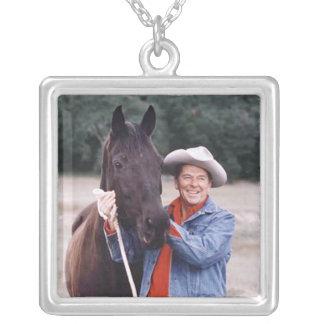 """Ronald Reagan & """"Little Man"""" Square Pendant Necklace"""