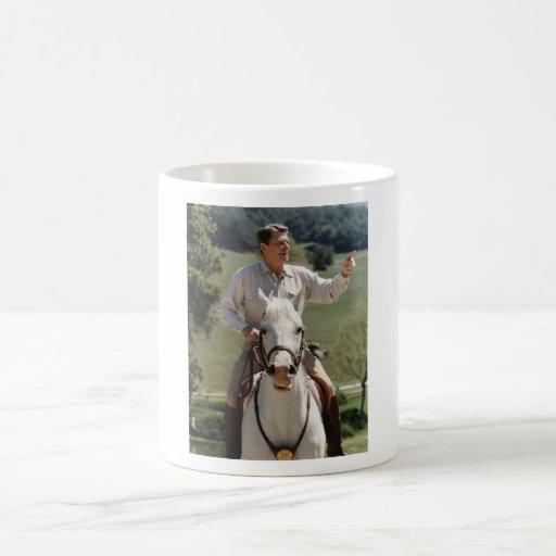 Ronald Reagan On Horseback Classic White Coffee Mug