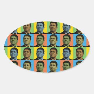 Ronald Reagan Pop-Art Oval Sticker