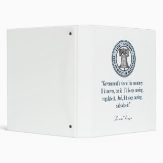 Ronald Reagan Quote (Government's View) 3 Ring Binder