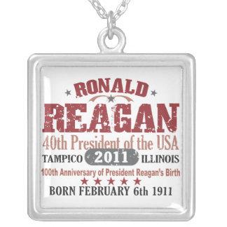 Ronald Reagan Square Pendant Necklace
