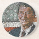 Ronald Reagan With Flag Drink Coaster