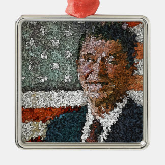 Ronald Reagan With Flag Metal Ornament