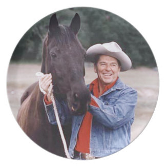 """Ronald Reagan With """"Little Man"""" Melamine Plate"""