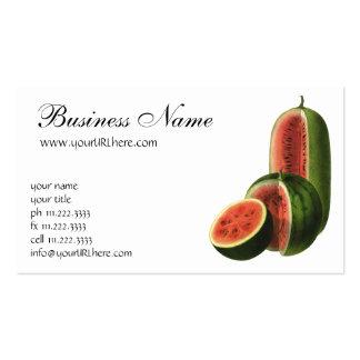 Ronda alta de las sandías del vintage, fruta del tarjetas de visita